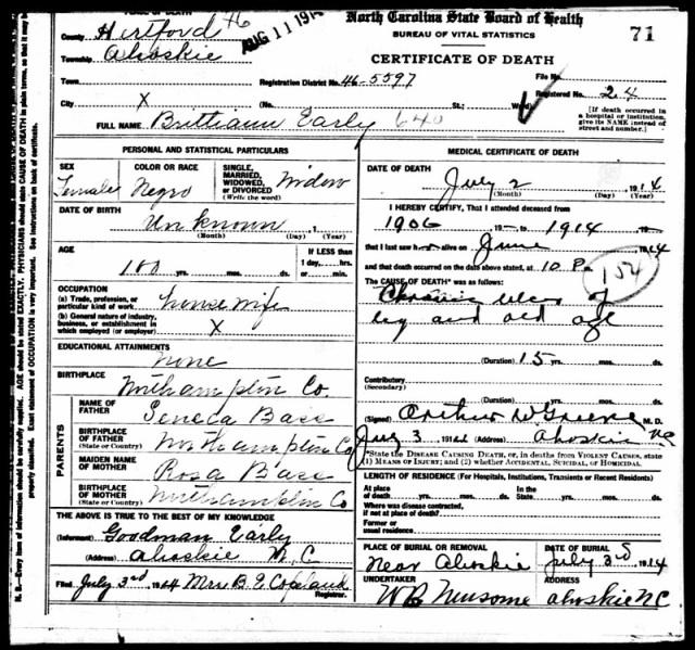 Brittie Ann Death Certificate