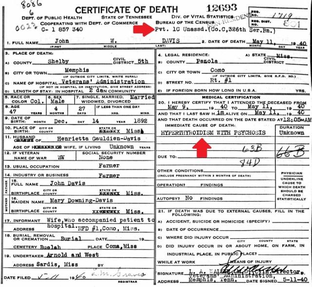 John Wesley Davis Death Certificate